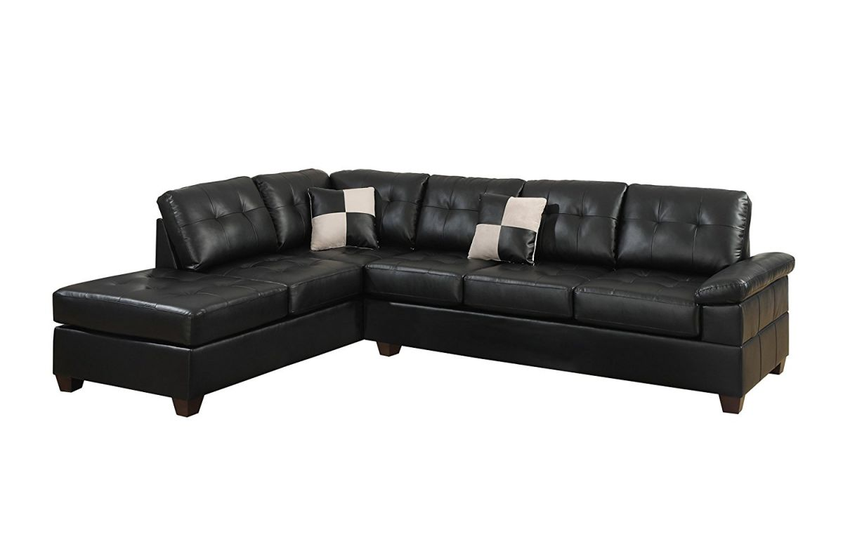 Poundex Bobkona Randel Bonded Leather 2-Piece Reversible Sectional Sofa, Black