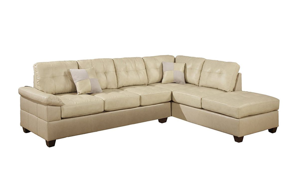 Poundex Bobkona Randel Bonded Leather 2-Piece Reversible Sectional Sofa, Khaki