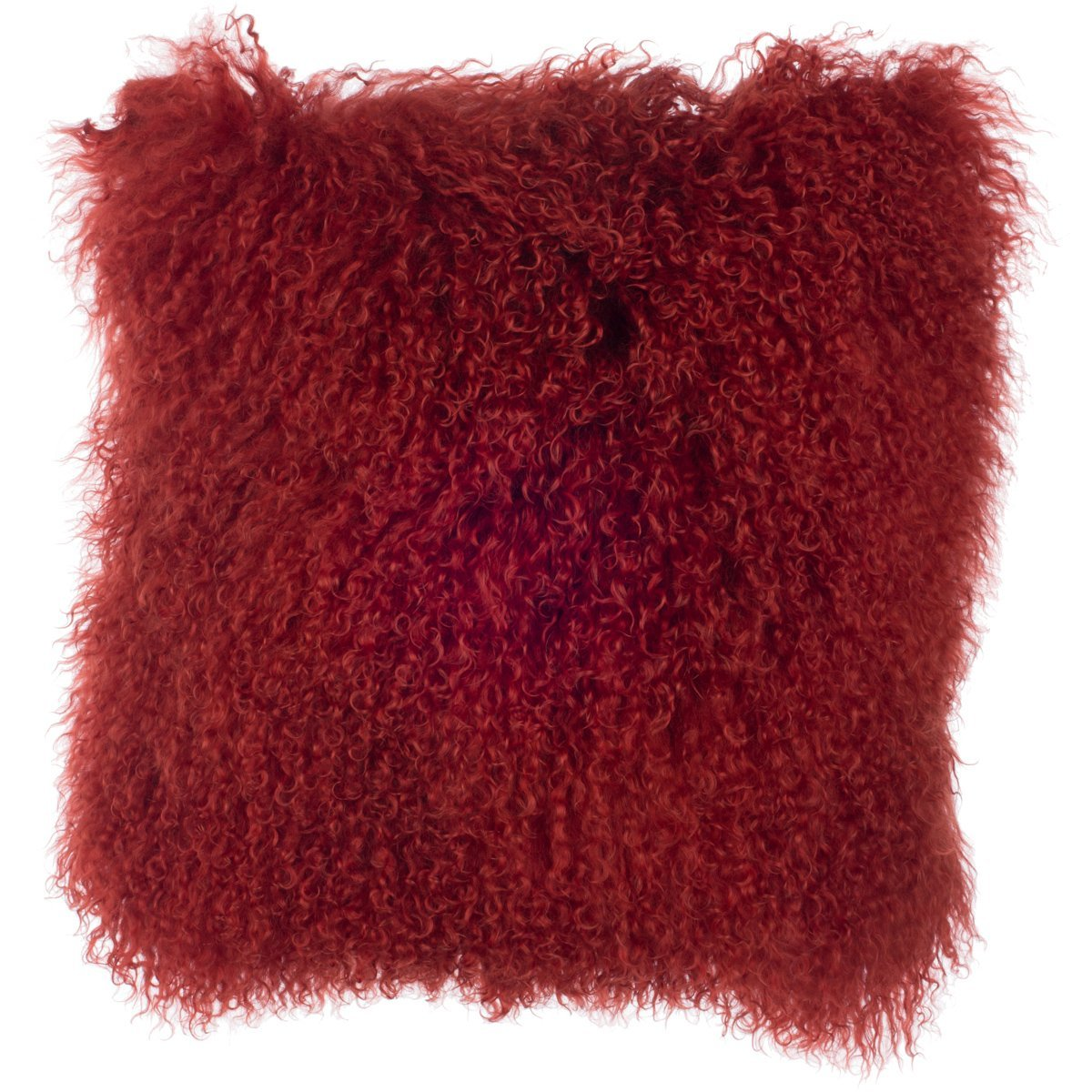 SLPR Mongolian Lamb Fur Throw Pillow Cover (16'' x 16'', Paprika) | Real Fur Decorative Cushion Cover Pillow Case for Living Room Bedroom