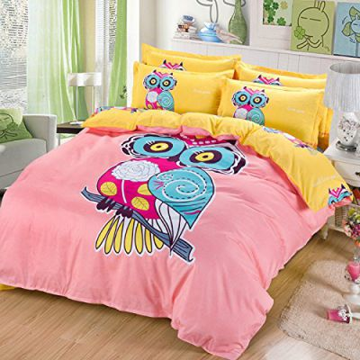 Sandyshow 3PC Owl Bedding Microfiber Duvet Cover Set