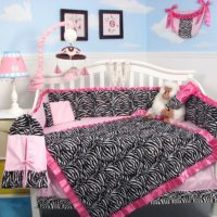 SoHo Pink with Black & White Zebra Chenille Crib Nursery Bedding 10 pcs Set