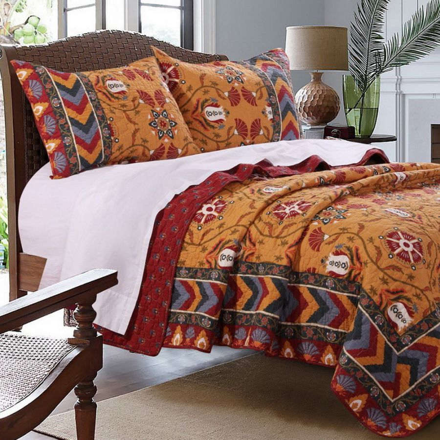 Southwest Indian Medallion Stripe Pattern Print Bedding