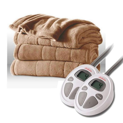 Sunbeam Channeled Microplush Heated Electric Blanket Queen Size Mushroom Beige
