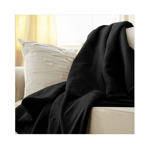Sunbeam Microplush Electric Heated Throw Blanket Black