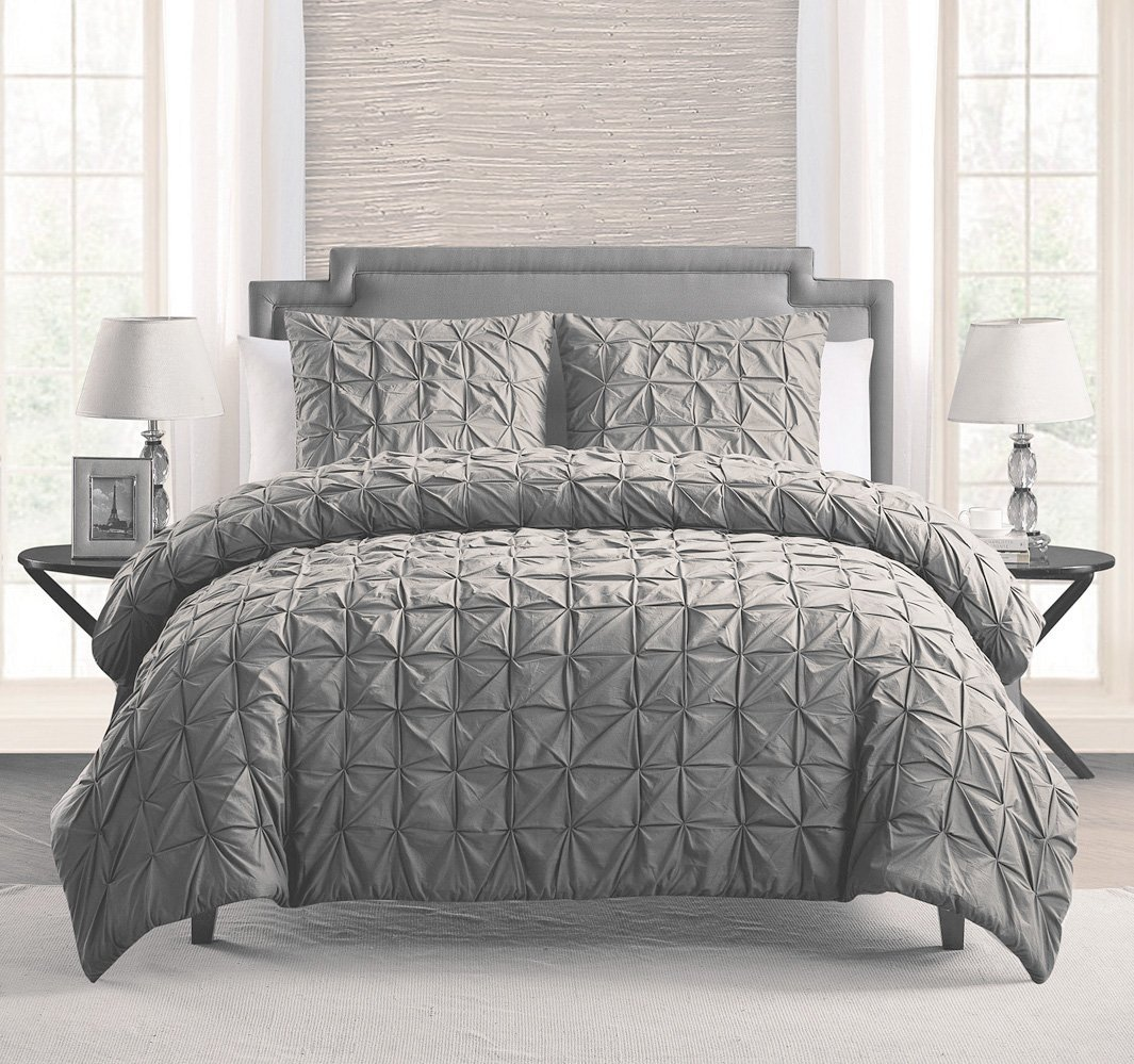 100% COTTON 2 - Piece Solid GREY Pinch Pleat Duvet Cover Set TWIN / TWIN XL Size Bedding