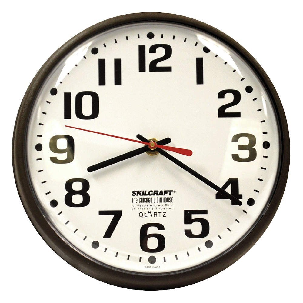 "9-1/5"" Wall Mount Round Analog Clock, Brown - 1 Each"