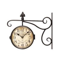 "Adeco CK0071 Black Wrought Iron Vintage-Inspired Train Railway Station Style Round Double-Sided Two Faces Wall Hanging Clock with Scroll & Fleur De Lis Wall Side Mount ""Old Town Clocks"" Home Decor, Black"