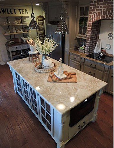 "Counter Top White Marble Riviera Creme Look. 36"" W x 144"" L by EzFaux Décor"