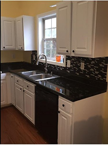 "Countertops: Granite Black Peel and Stick Vinyl 36"" W x 144"" L"