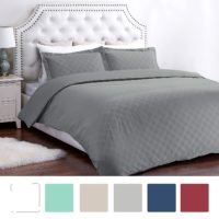 "Duvet Cover Set with Zipper Closure-Grey Diamond Pattern, Twin (66""x86"")-2 Piece (1 Duvet Cover + 1 Pillow Shams)-110 gsm Ultra Soft Hypoallergenic Microfiber by Bedsure"