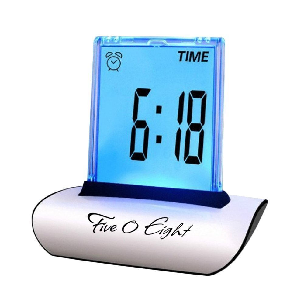 FIVE0EIGHT Digital Alarm Clock Small Table Desk Clock with 3.3'' LCD Display and 7 Color Changing for Kids, Bedroom, Travel