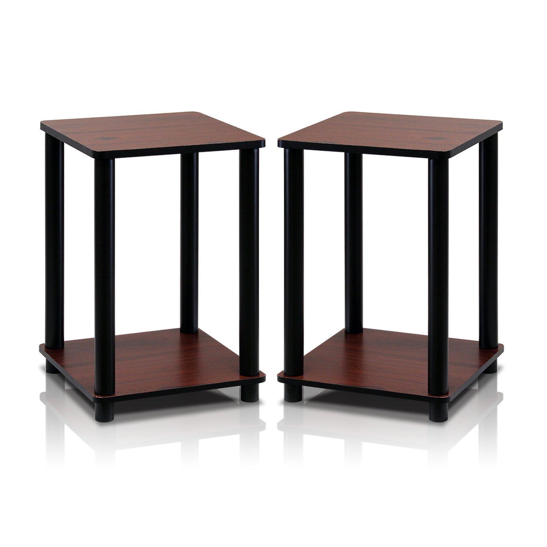 Furinno 2-99800RDC Turn-N-Tube End Table Corner Shelves, Set of 2, Dark Cherry/Black