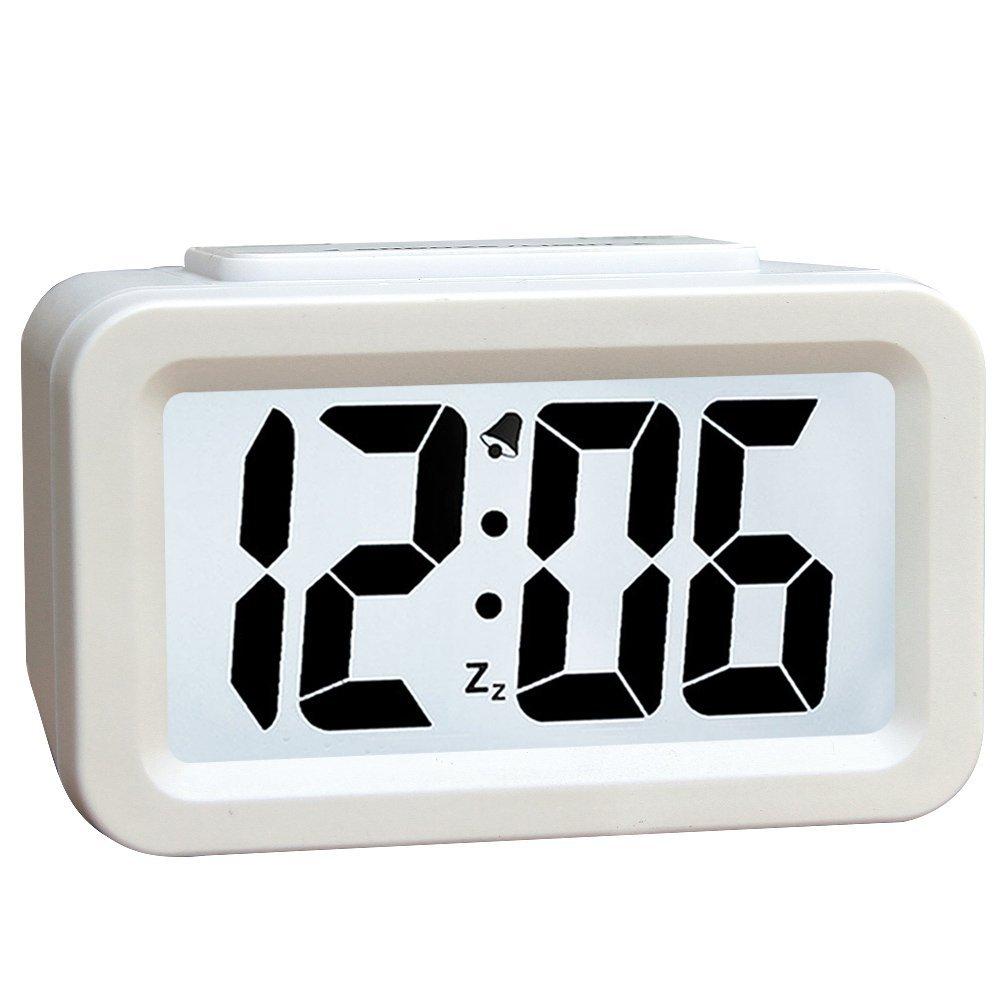 Hense Creative Nightlight Alarm Clock Bedside Desk Table Electronic Clock Battery Operated Mute Luminous Alarm Clock With Adjustable Light HA35 (White)
