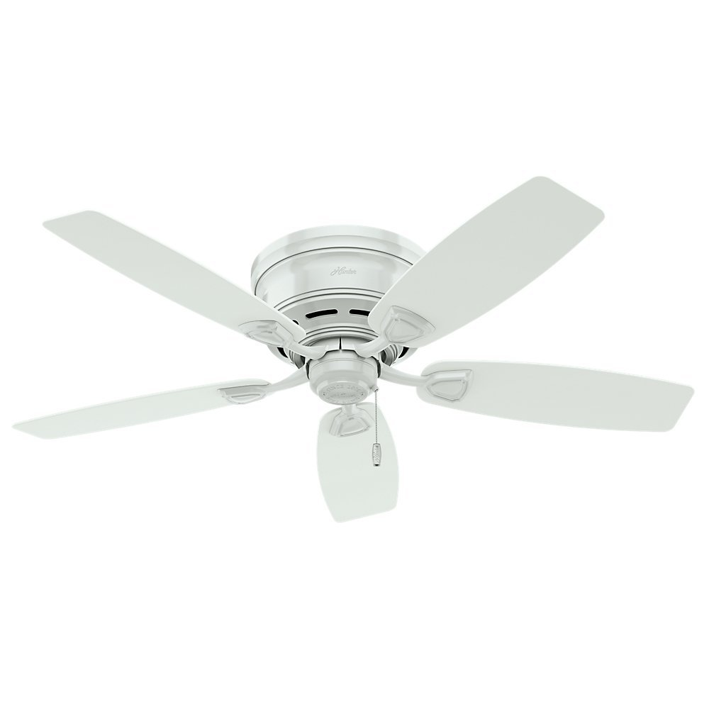 Hunter 53119 Sea Wind 48-inch ETL Damp Listed, White Ceiling Fan with Five White Plastic Blades