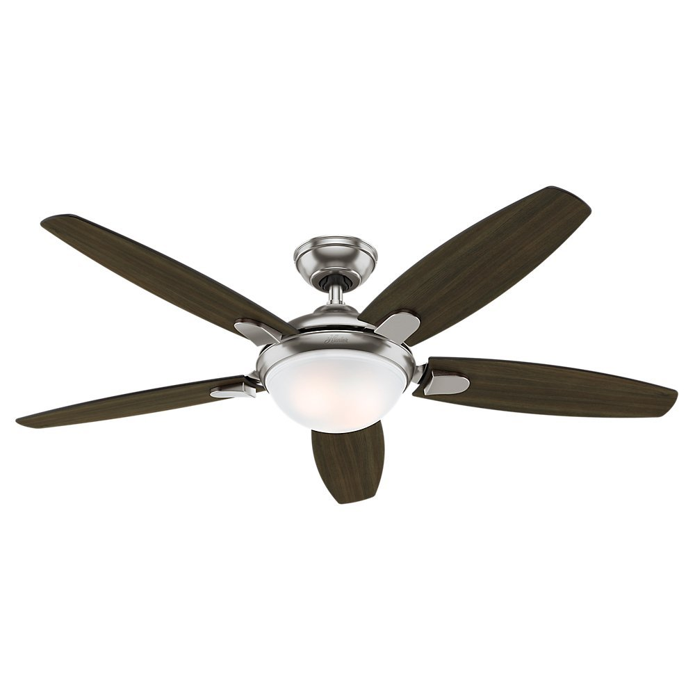 Hunter Fan 54 Contemporary Ceiling In Brushed Nickel With Energy Efficient Led Light