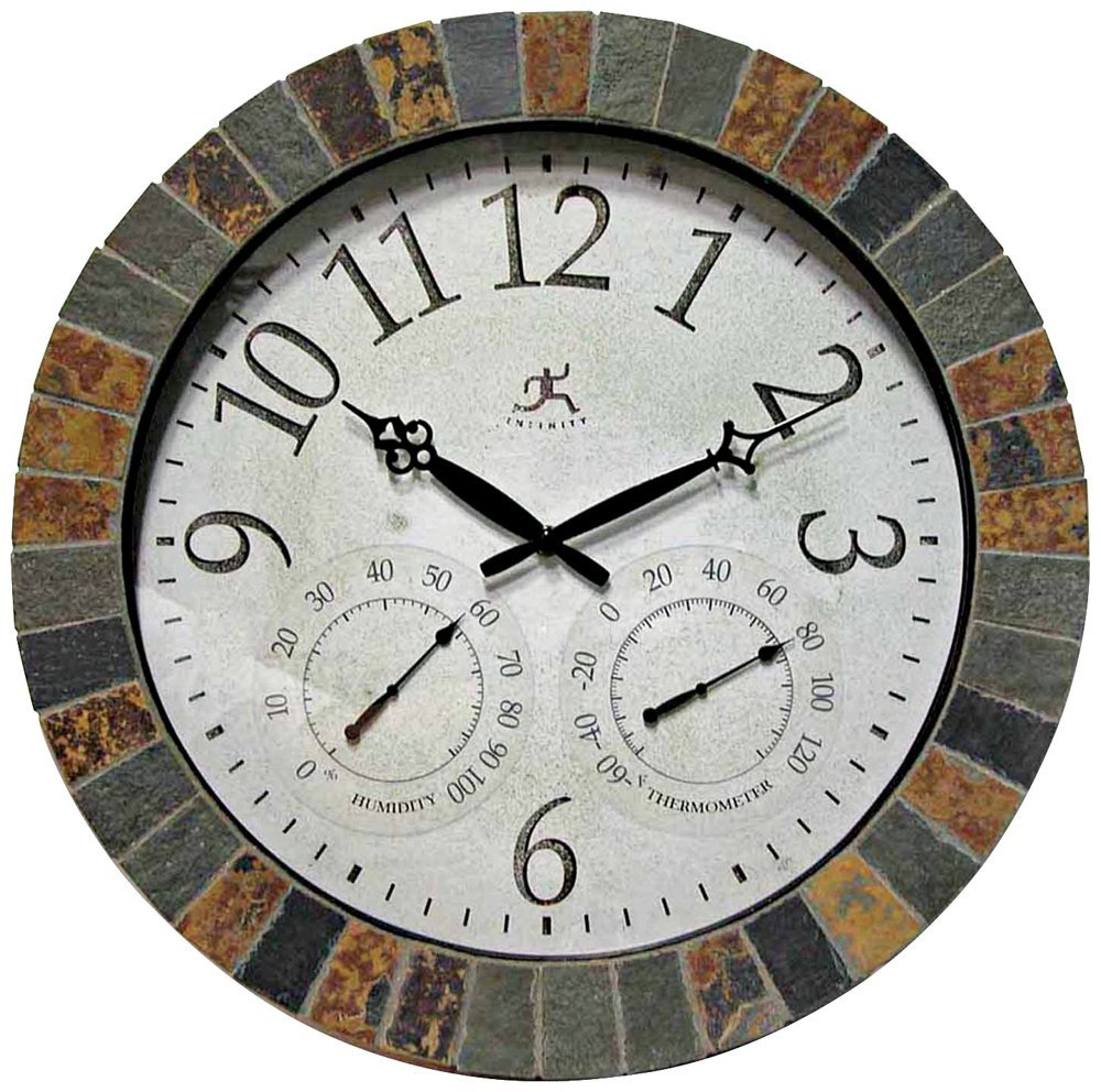 Infinity Instruments The Inca - In/Outdoor Clock with Slate Mosaic Border
