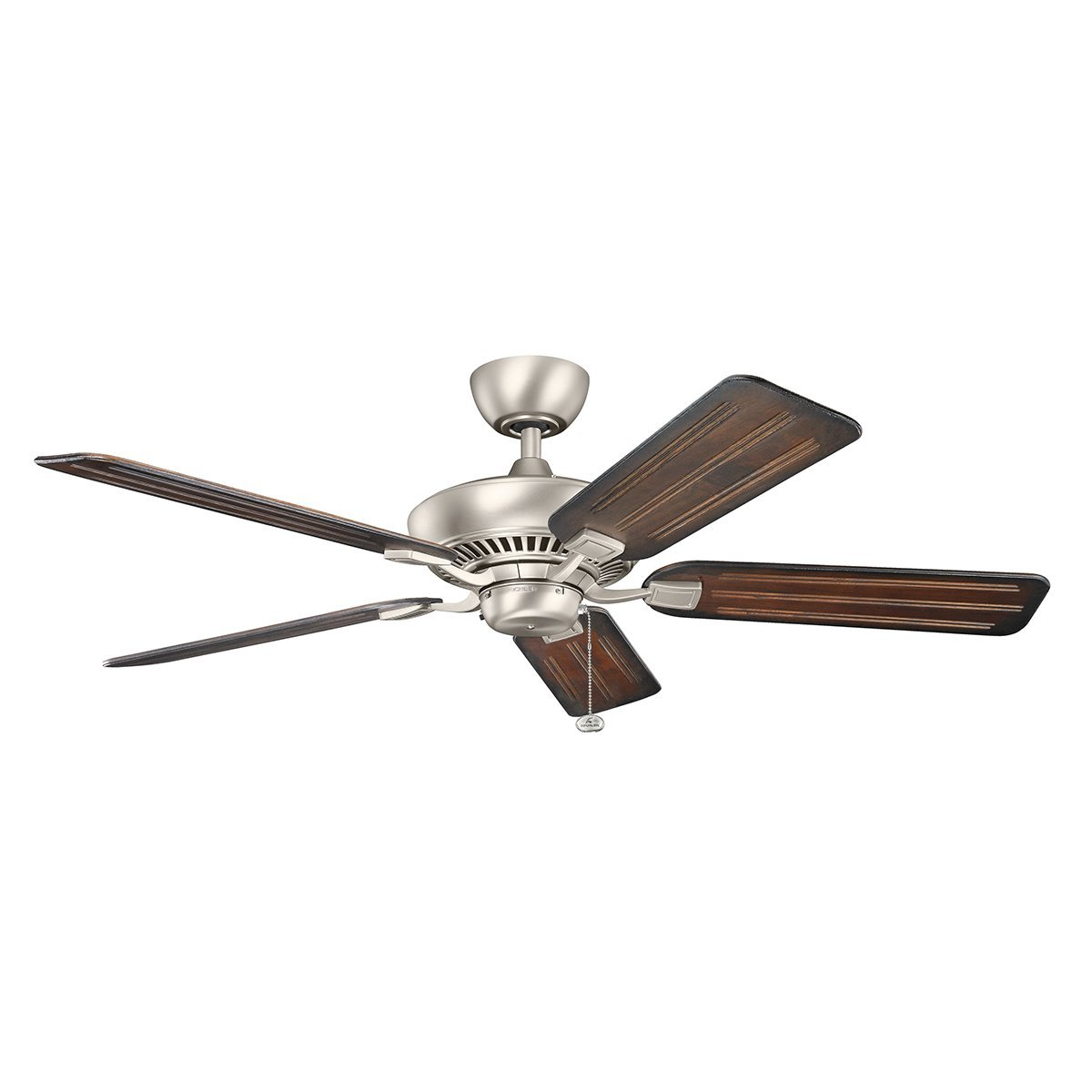 Kichler 300117NI Canfield 52IN 5-Blade Energy Star Ceiling Fan, Brushed Nickel Finish with Reversible Cherry/Walnut Blades