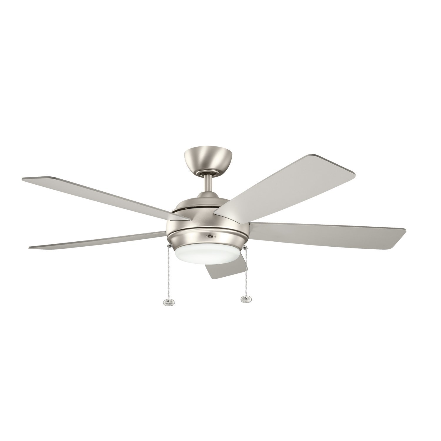 Kichler Lighting 300173NI Starkk 52IN Ceiling Fan, Brushed Nickel Finish with Reversible Silver/Walnut Blades and Satin Etched Glass Downlight