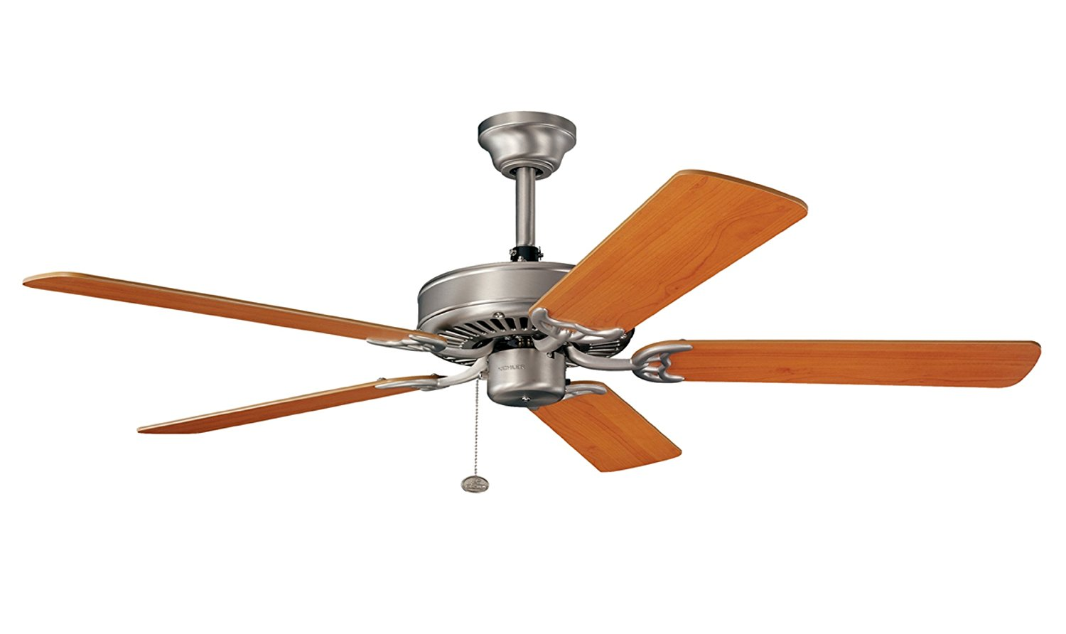Kichler Lighting 339010NI Sterling Manor 52IN Energy Star Ceiling Fan, Brushed Nickel Finish with Reversible Marive Cherry/Maple Blades