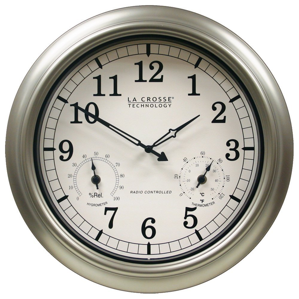 "La Crosse Technology WT-3181P 18"" Outdoor Atomic Wall Clock with Temperature/Humidity"