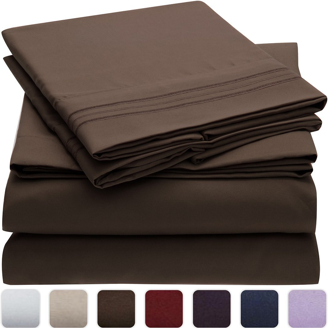 Mellanni Bed Sheet Set - Brushed Microfiber 1800 Bedding - Wrinkle, Fade, Stain Resistant - Hypoallergenic - 4 Piece (King, Brown)
