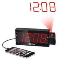 "Mesqool AM/FM Digital Dimmable Projection Alarm Clock Radio with 1.8"" LED Display,USB Charging,Dual Alarm,Battery Backup"