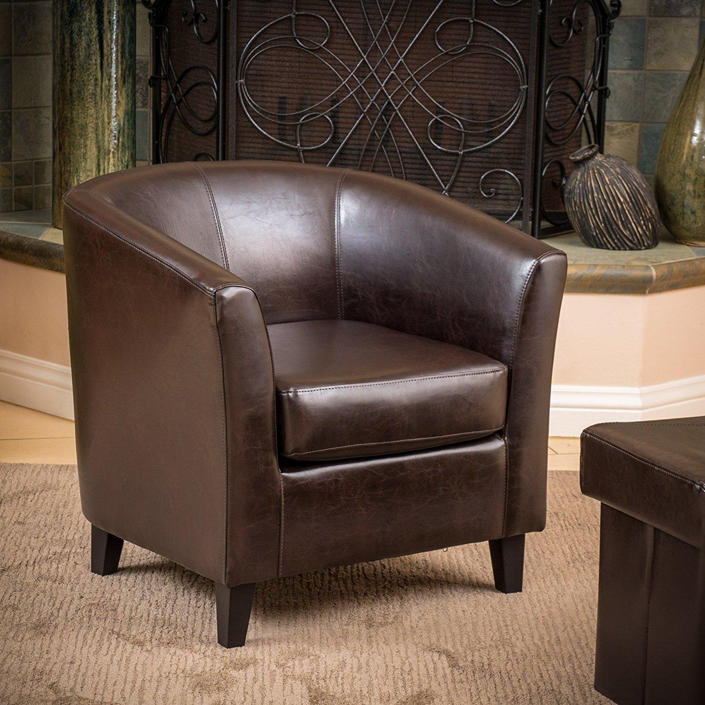 Petaluma Brown Leather Club Chair