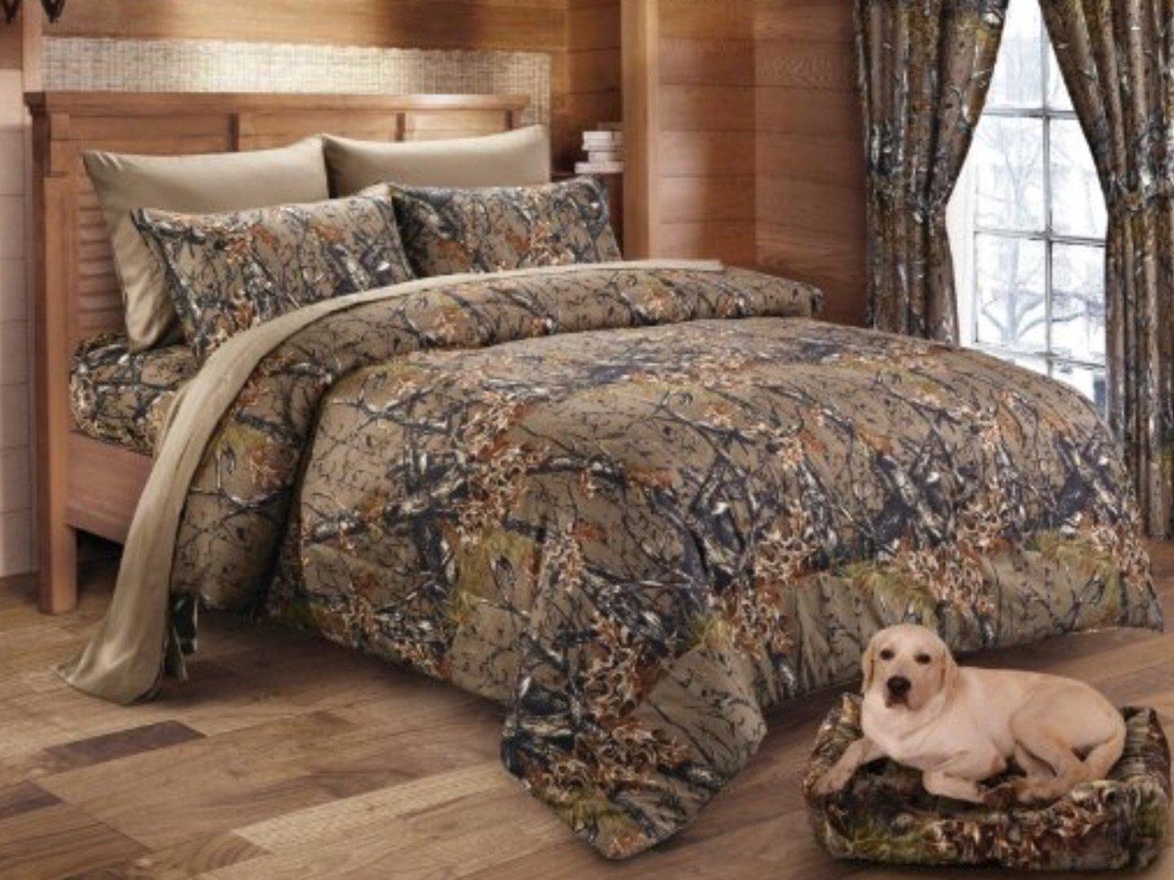 Queen Reversible Woodland Camo 7 Piece Comforter & Sheet Set
