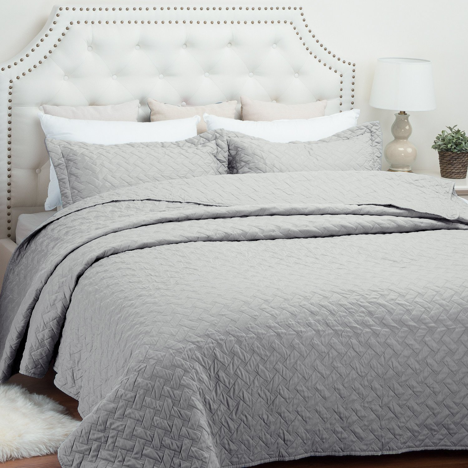 "Quilt Set Solid Grey King(106""x96"") Basketweave Pattern Lightweight Hypoallergenic Microfiber ""Simone"" by Bedsure"