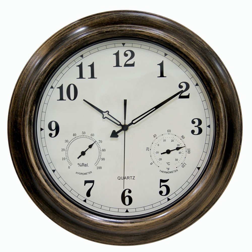 SkyNature 18 Inch Large Outdoor Wall Clock Waterproof with Temperature and Humidity