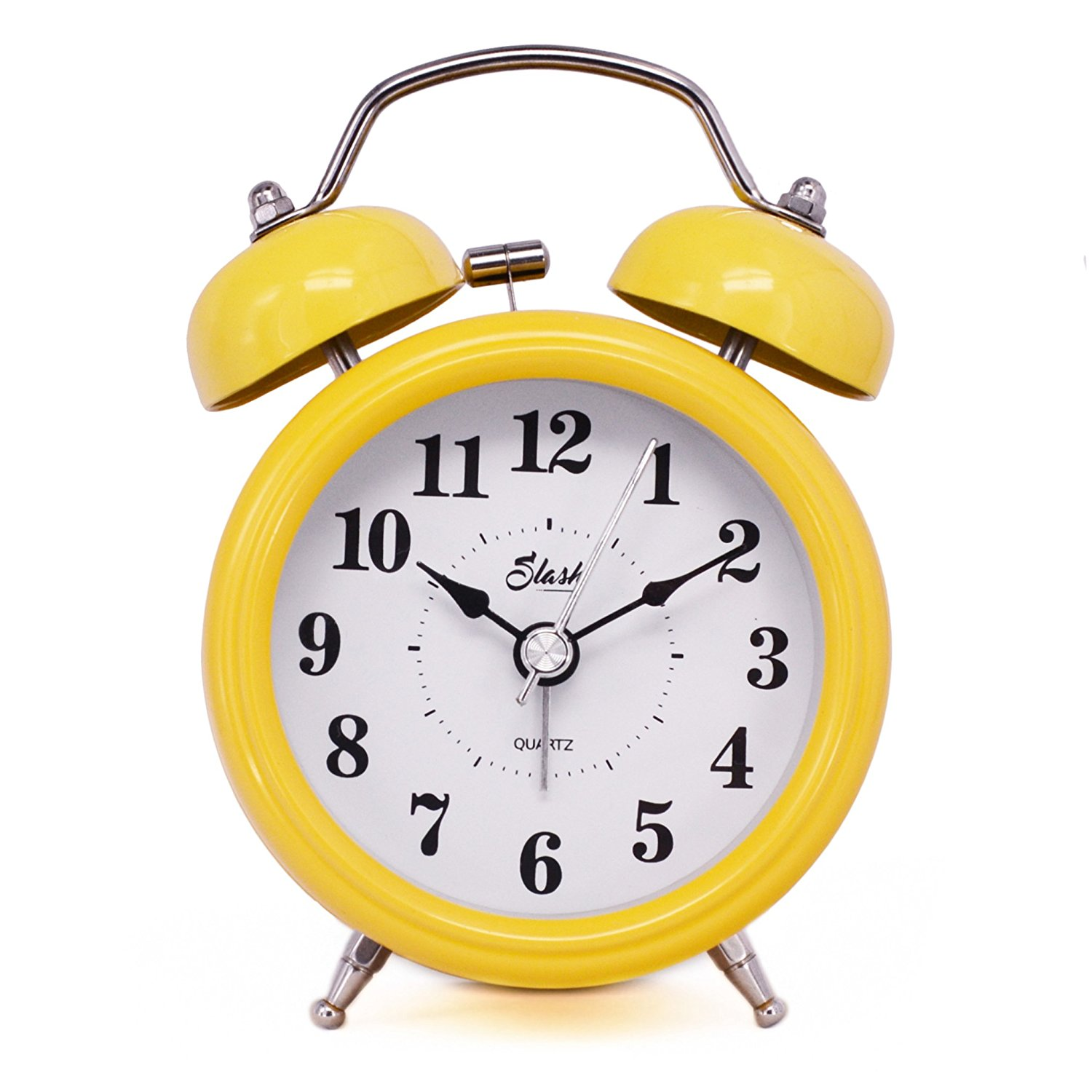 "Slash 3"" Vintage Retro Old Fashioned Quiet Non-ticking Sweep Second Hand, Quartz Analog Twin Bell Clock, Battery Operated, Loud Alarm, Nightlight Function (Yellow) S10125"