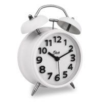 "Slash 4"" Vintage Retro Old Fashioned 3D Digitals Quiet Non-ticking Sweep Second Hand, Quartz Analog Clock, Battery Operated, Loud Alarm, Nightlight Function (White) S10019"