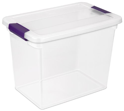 Sterilite 17631706 27 Quart/26 Liter ClearView Latch Box, Clear with Sweet Plum Latches, 6-Pack