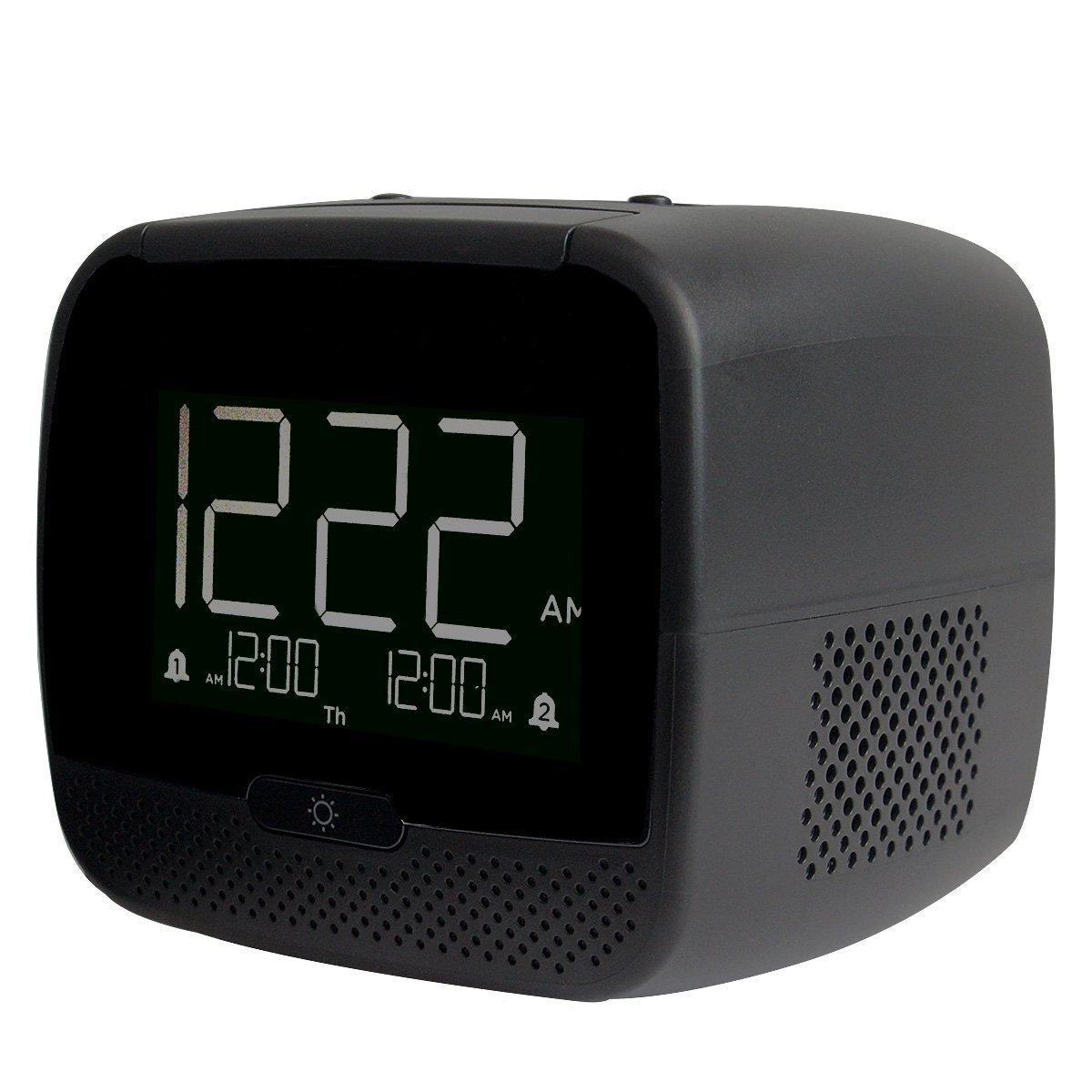 TIVDIO RT-4503 Dual Alarm Clock Radio With FM Wireless Speaker 2 Port Smart Phone Charger Snooze Sleep Timer Battery Backup and Audio Input (Black)