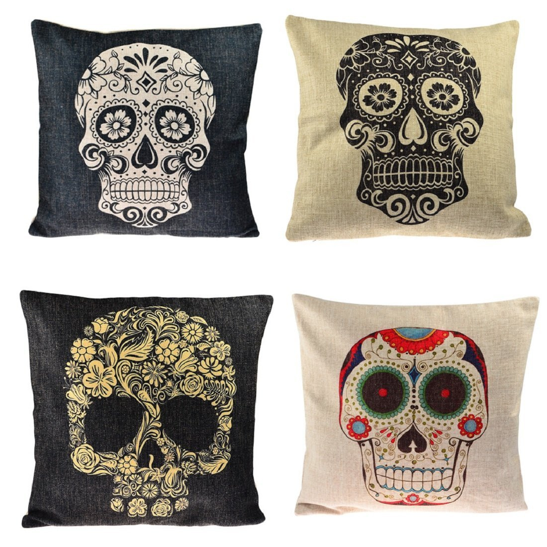 Throw Pillow Covers,YIFAN 4Pcs Mexican Day of the Dead Sugar Skull Cotton Linen Square Shaped Decorative Sofa Chair Couch Pillowcase Pillowslip 43*43cm