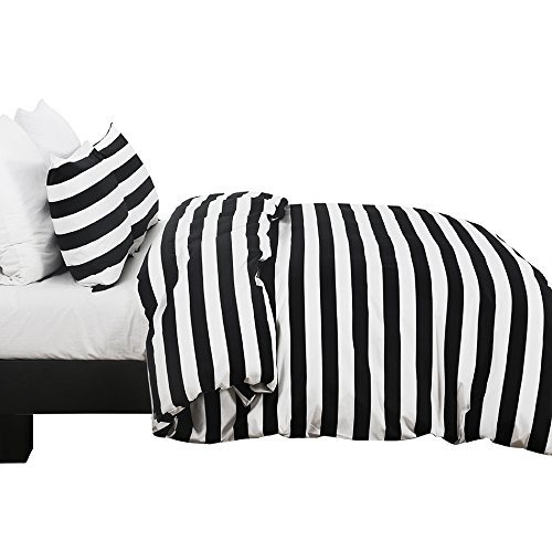 Vaulia Lightweight Microfiber Duvet Cover Set, Black and White Stripe Pattern Design - Queen Size