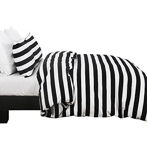 Vaulia Lightweight Microfiber Duvet Cover Set, Black and White Stripe Pattern Design - Queen Size
