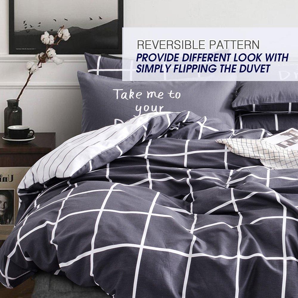 Vougemarket Super Soft 100% Cotton 3-pieces Black White Grid Prints Duvet Cover Sets(1 Duvet Cover + 2 Pillow Shams) with Zipper Closure-Full/Queen,Grid 2
