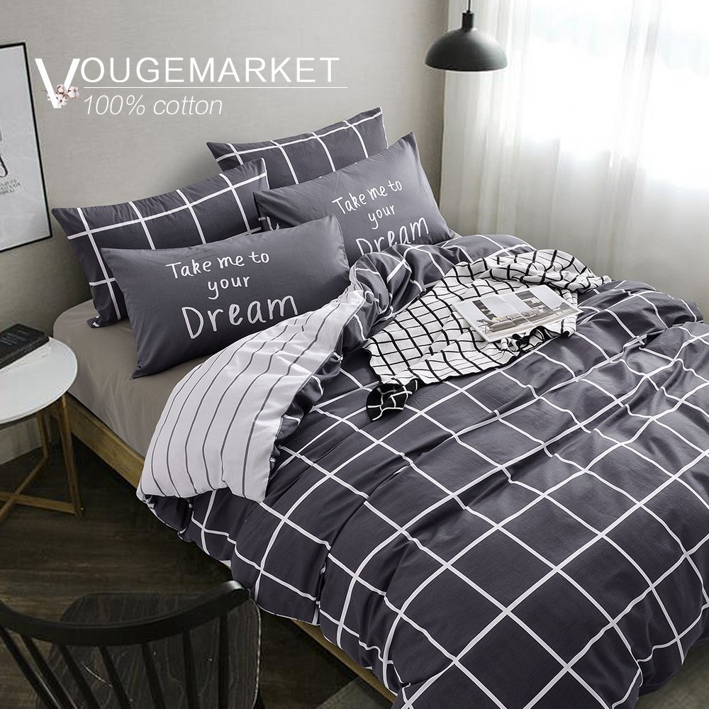 Vougemarket Super Soft 100% Cotton 3-pieces Black White Grid Prints Duvet Cover Sets(1 Duvet Cover + 2 Pillow Shams) with Zipper Closure-Full/Queen,Grid 2