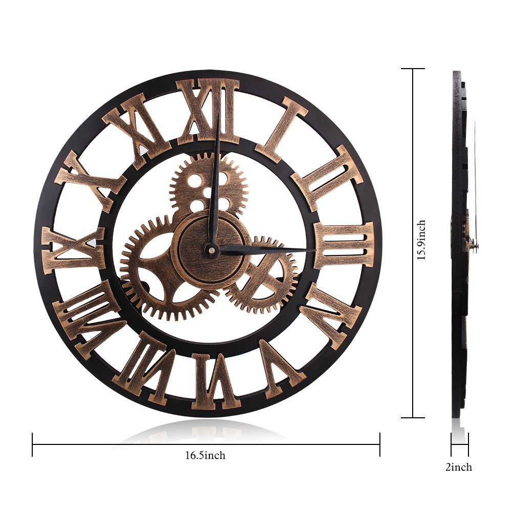 Wall Clocks ,Retro Vintage Handmade 3D Decorative Gear Wooden Kitchen Mechanism Wall Clock With Movements by HooYL (Copper Color)
