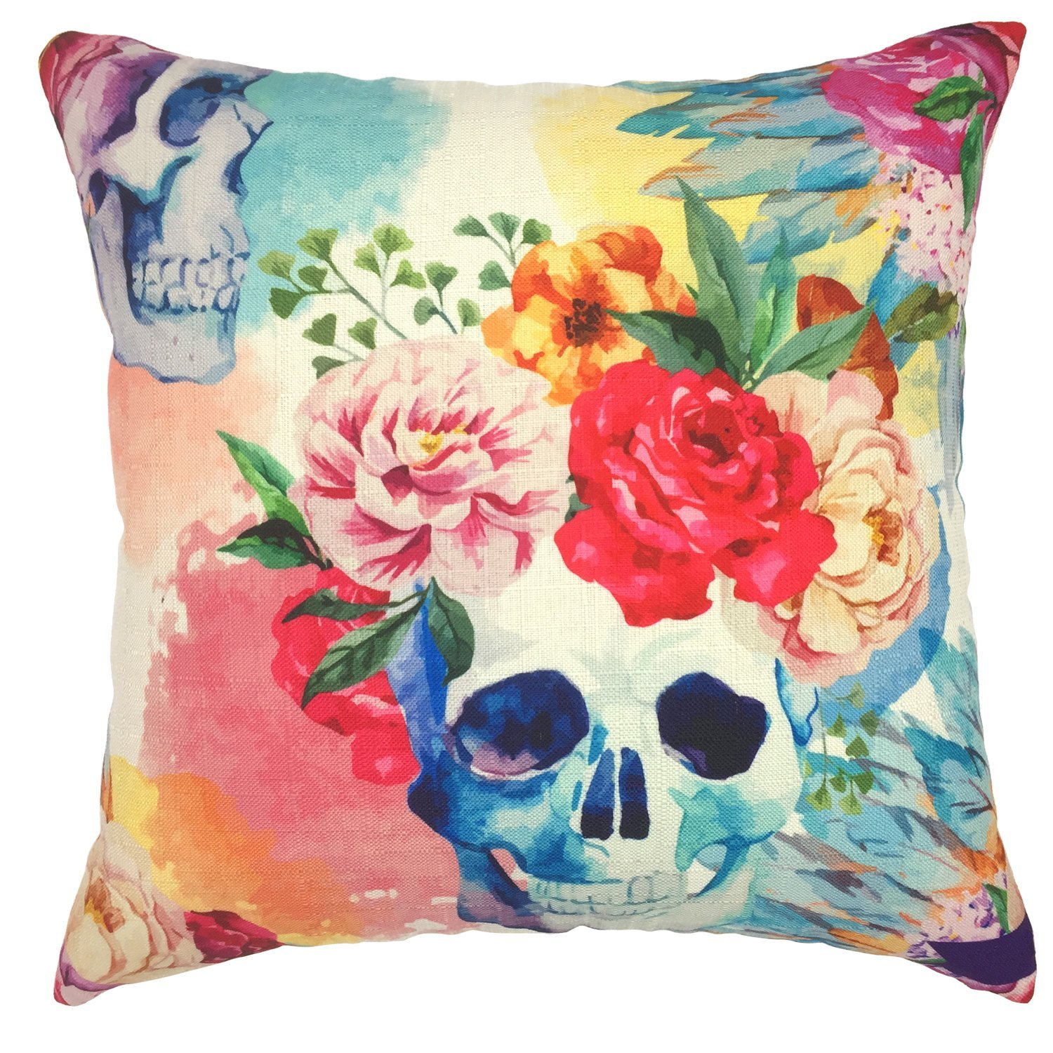 YOUR SMILE Cotton Linen Decorative Cushion Covers Vintage Skull Throw Pillow Cases for Sofa 1818 Inches (Flower Skull NEW)