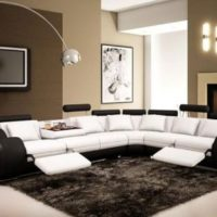 4087 Black & White Top Grain Italian Leather Living Room Sectional Sofa