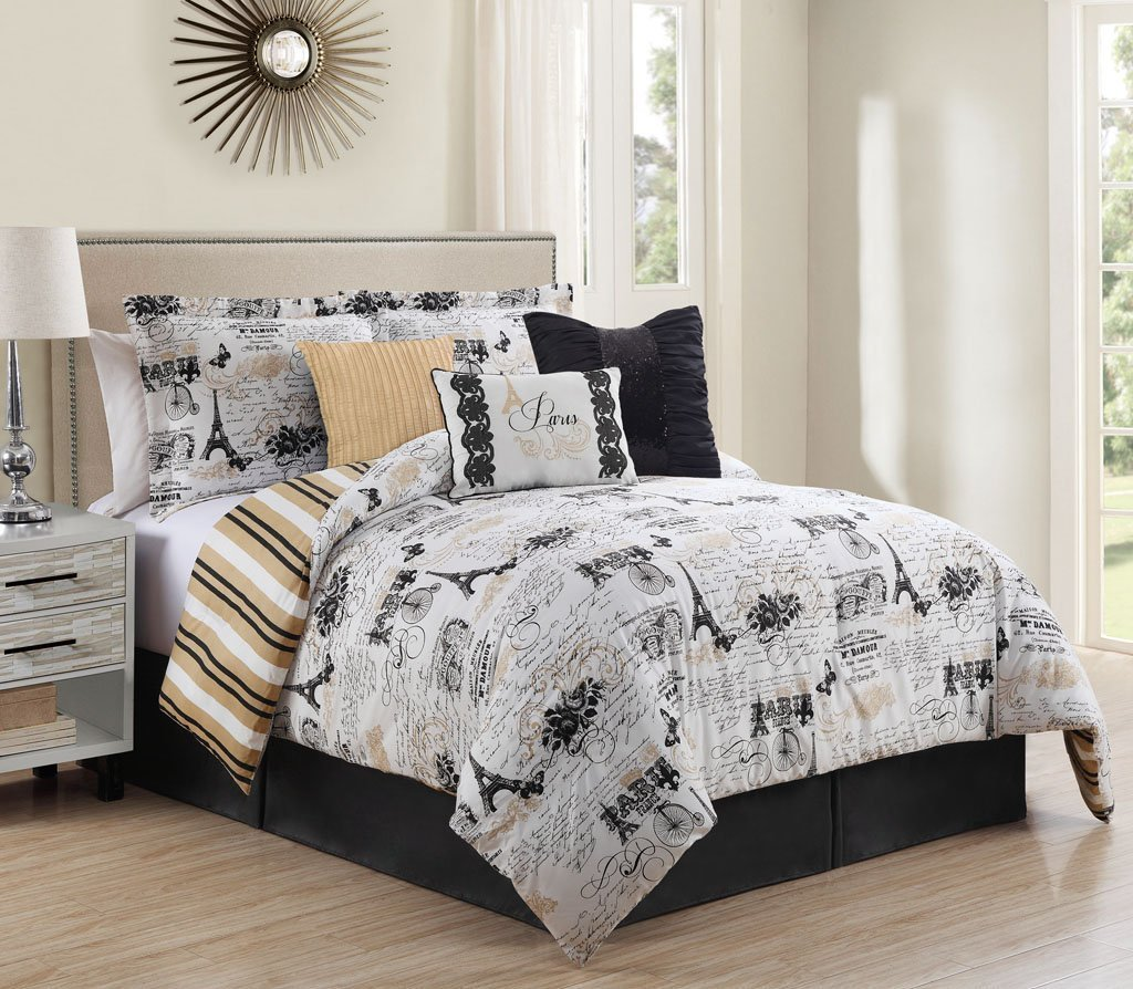 7 Piece Queen Oh-La-La Reversible Comforter Set