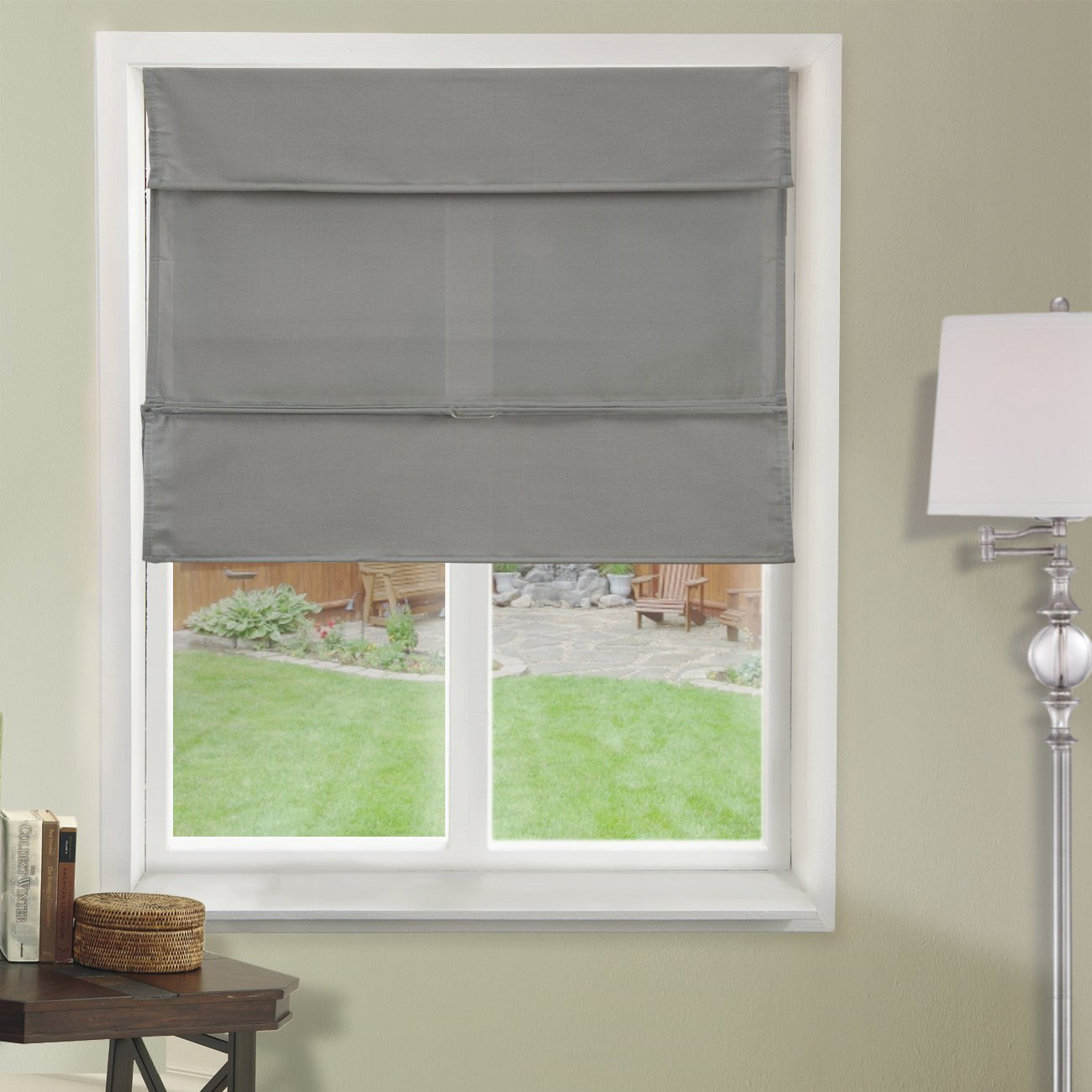 """Chicology Cordless Magnetic Roman Shade, Daily - Light Filtering, Privacy - Daily Grey, 35""""W X 64""""H"""