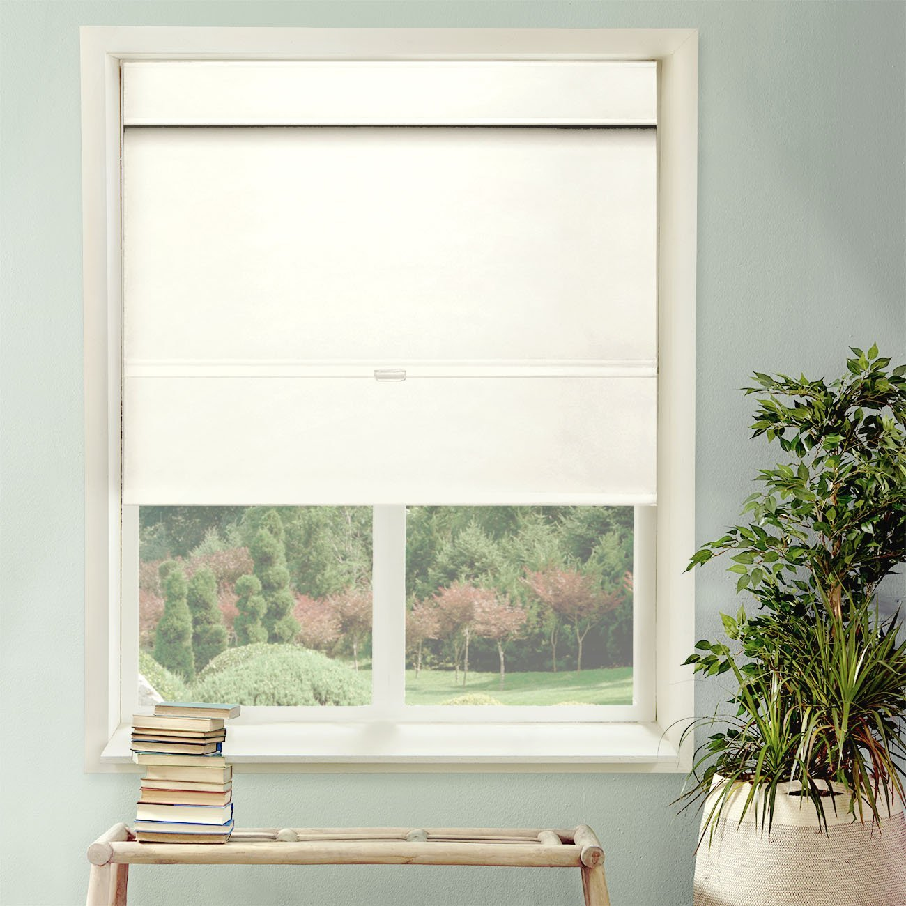 """Chicology Cordless Magnetic Roman Shade, Mountain - Thermal, Room Darkening - Mountain Snow, 33""""W X 64""""H"""