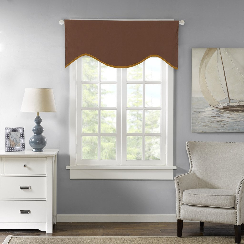 """H.Versailtex Elegant Curtain Valances for Kitchen,Bath,Laundry,Bedroom,-50""""x17"""" in Toffee (Set of 1)"""