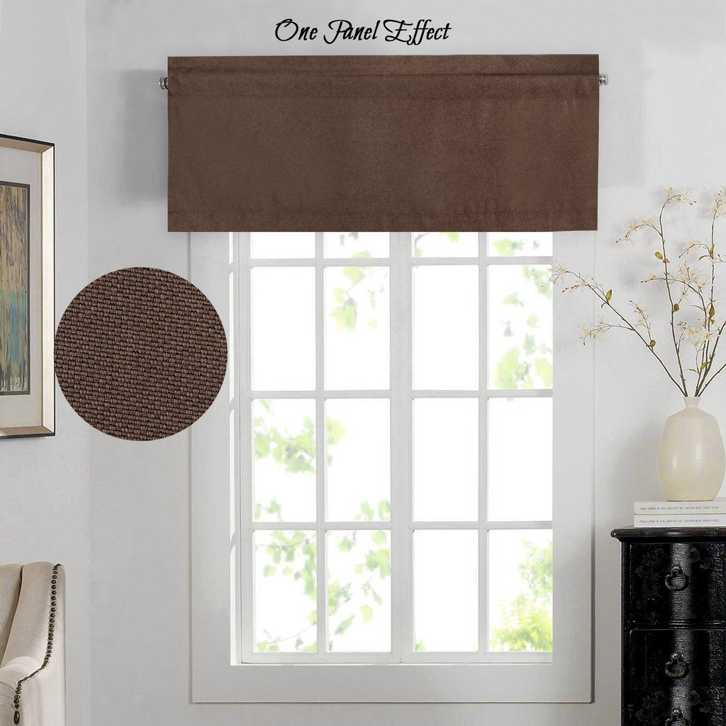 H.Versailtex Thermal Insulated Heavy Faux Linen Curtain Valances Matched with Panels,Rod Pocket Window Valance,52 by 18 - Inch,Cocoa Brown,1 Panel