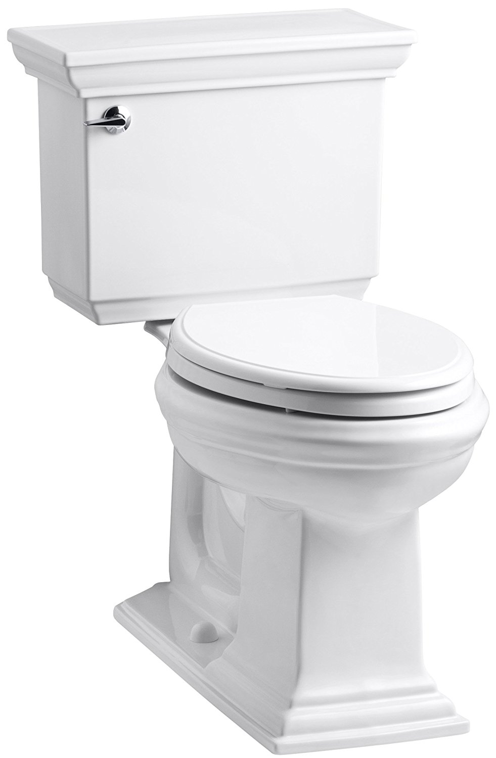 KOHLER K-3817-0 Memoirs Stately Comfort Height Two-Piece Elongated 1.28 GPF Toilet with AquaPiston Flush Technology and Left-Hand Trip Lever, White