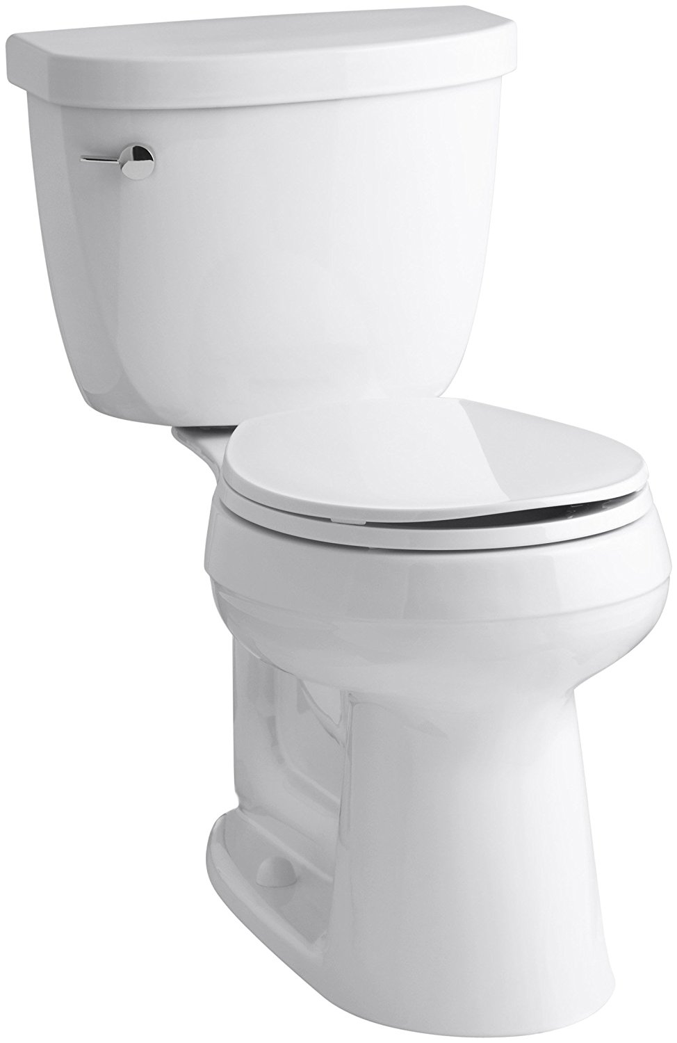 KOHLER K-3887-0 Cimarron Comfort Height Two-Piece Round-Front 1.28 GPF Toilet with AquaPiston Flush Technology and Left-Hand Trip Lever, White