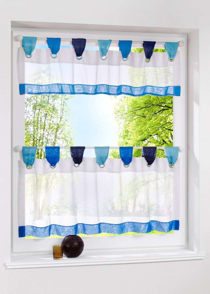 Uphome 1pcs Cute Stitching Color White Cafe Window Tier Curtain - Kitchen Tab Top Semi Sheer Curtain,72 x 24 Inch,Blue